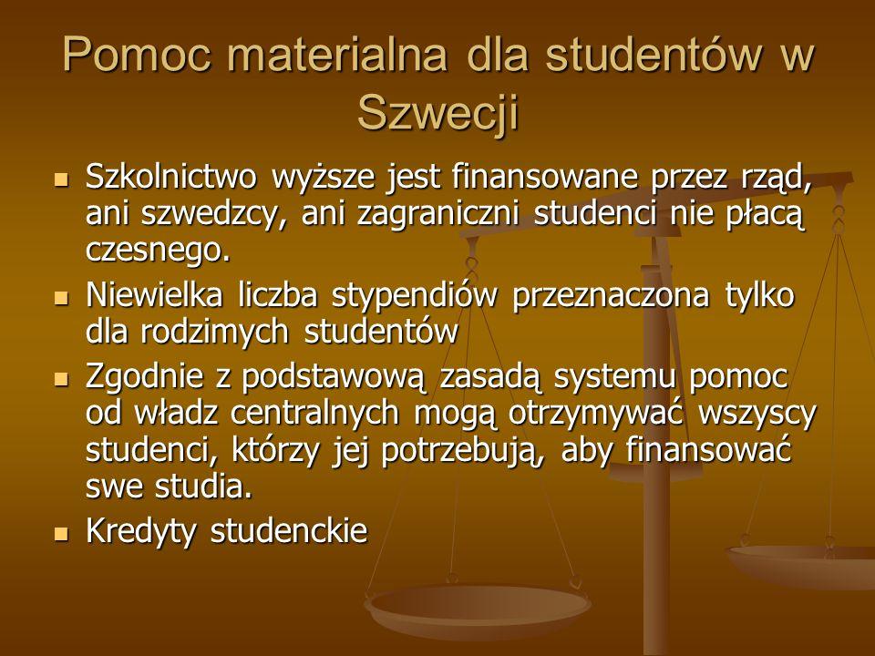 Pomoc materialna dla studentów w Szwecji