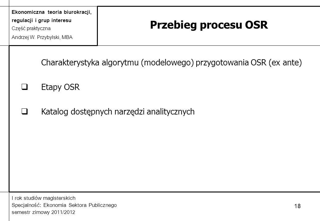 Przebieg procesu OSR Charakterystyka algorytmu (modelowego) przygotowania OSR (ex ante) Etapy OSR.