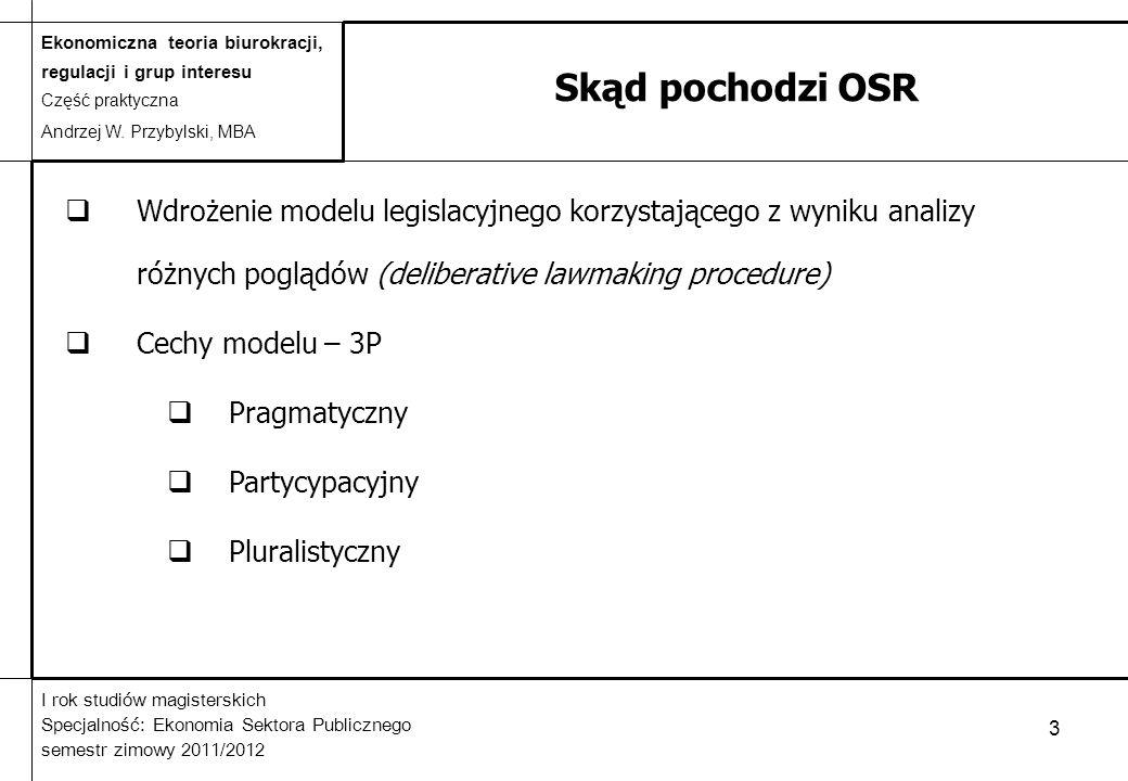 Skąd pochodzi OSR Wdrożenie modelu legislacyjnego korzystającego z wyniku analizy różnych poglądów (deliberative lawmaking procedure)