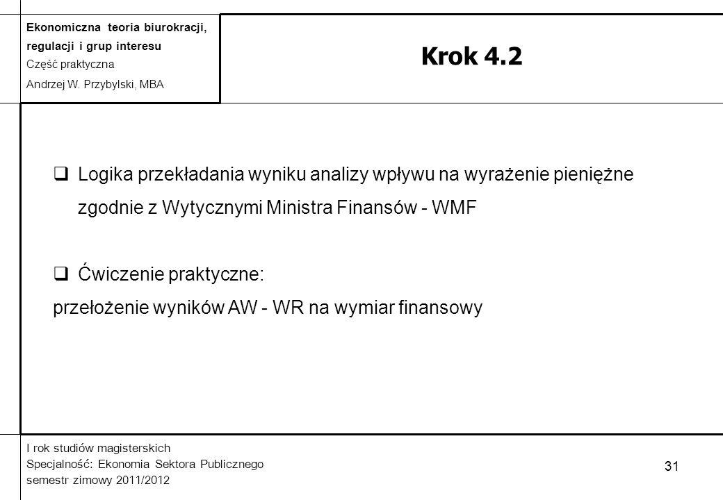 Krok 4.2 Logika przekładania wyniku analizy wpływu na wyrażenie pieniężne zgodnie z Wytycznymi Ministra Finansów - WMF.