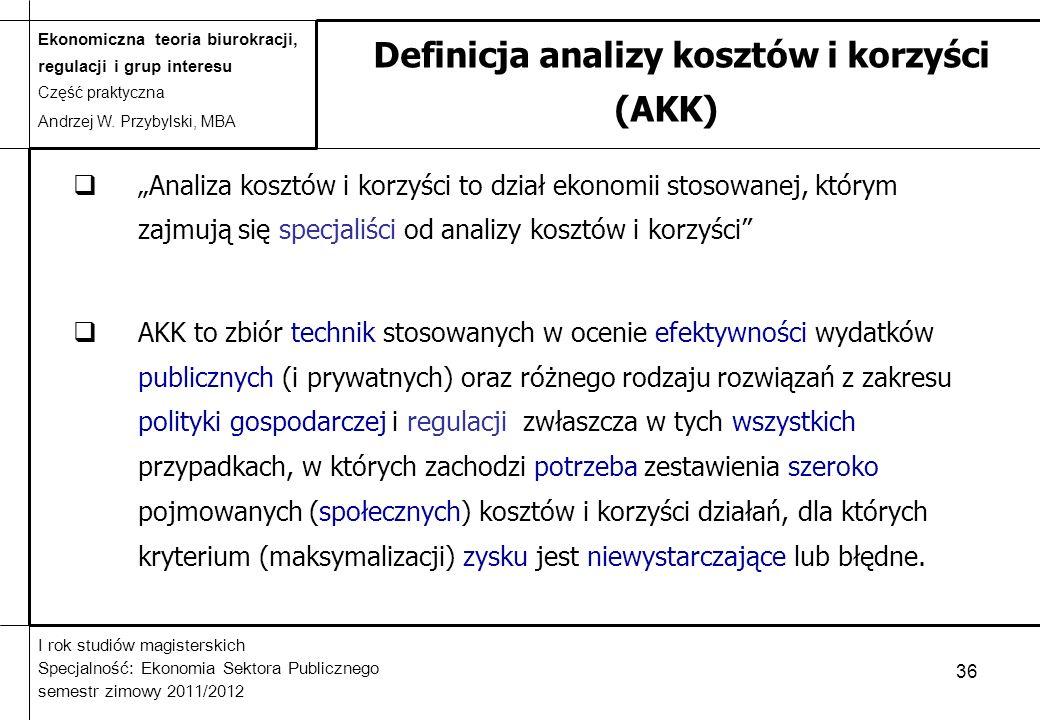 Definicja analizy kosztów i korzyści (AKK)