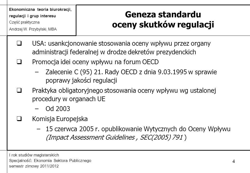 Geneza standardu oceny skutków regulacji