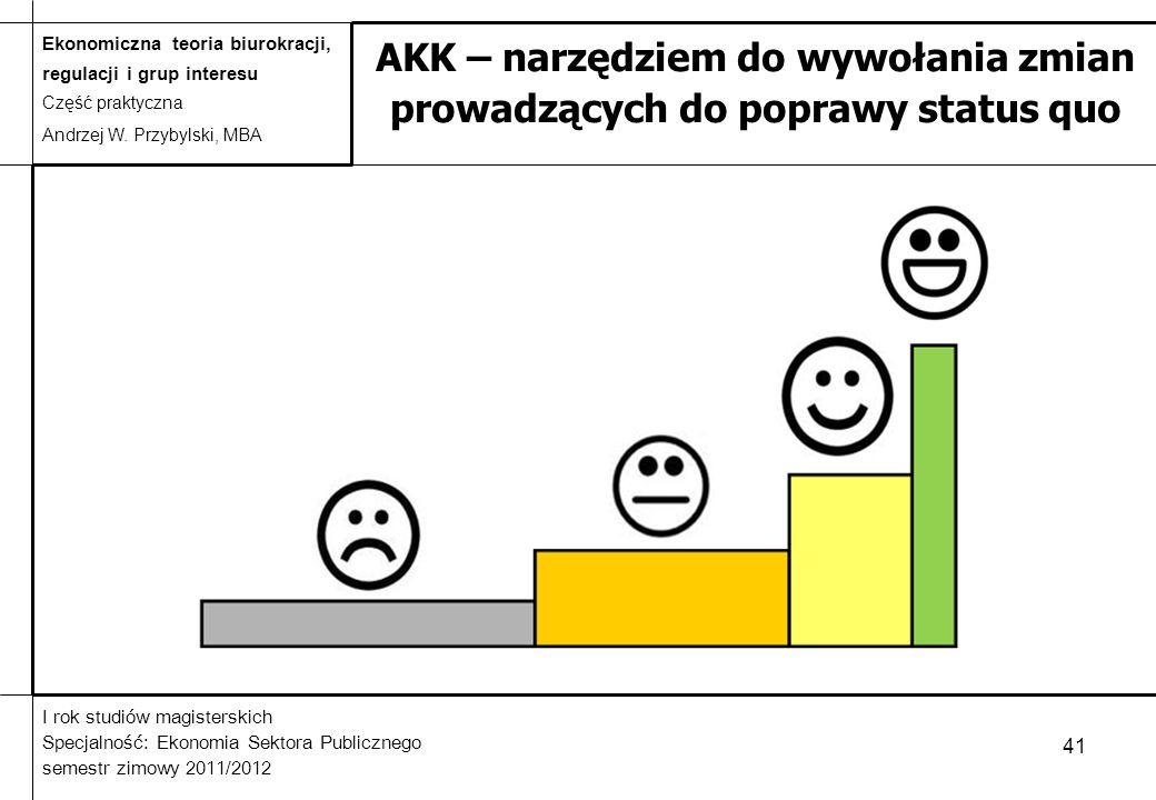 AKK – narzędziem do wywołania zmian prowadzących do poprawy status quo