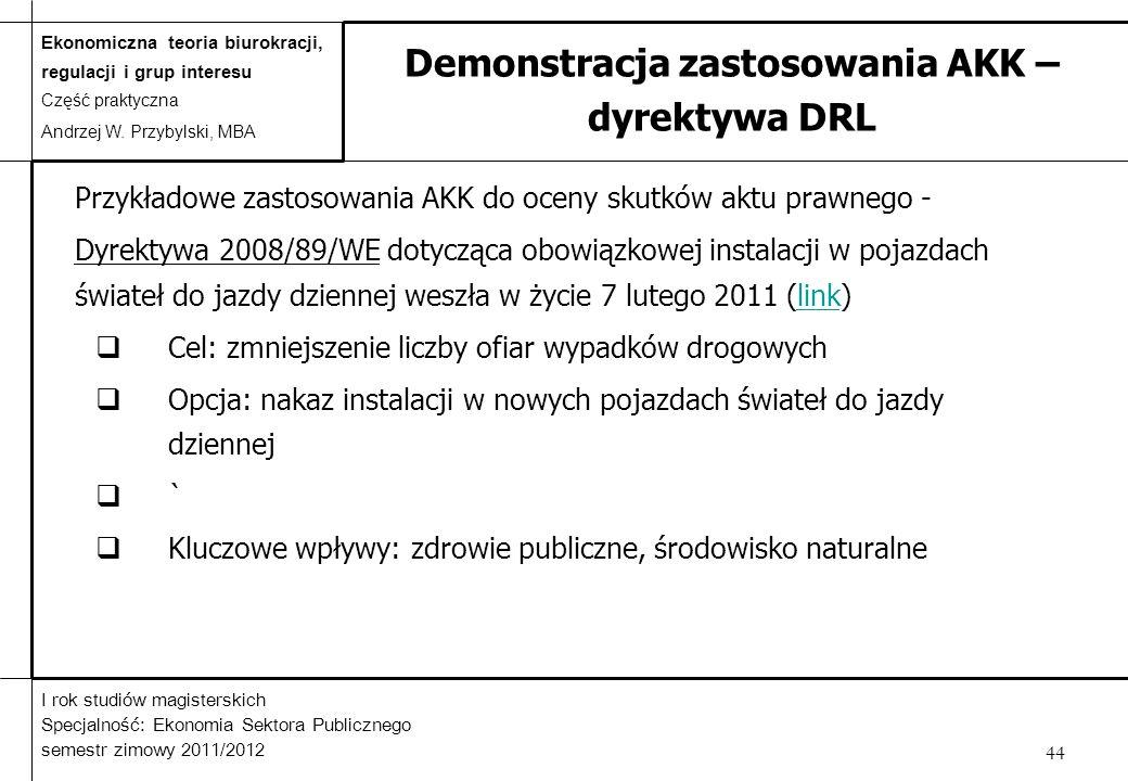 Demonstracja zastosowania AKK – dyrektywa DRL