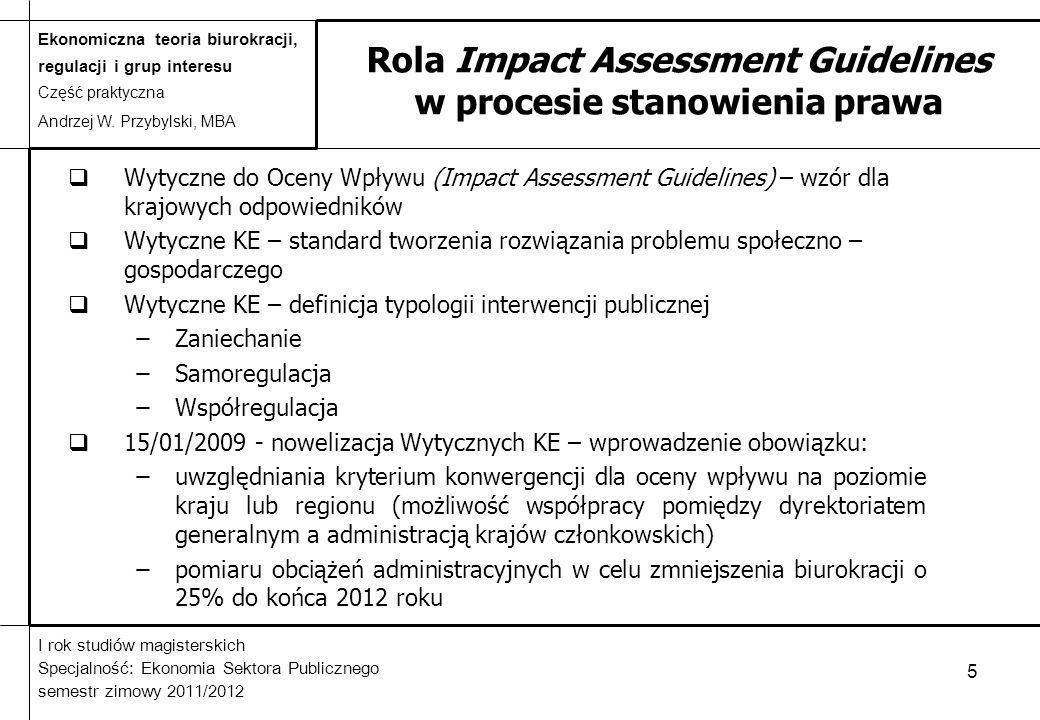 Rola Impact Assessment Guidelines w procesie stanowienia prawa