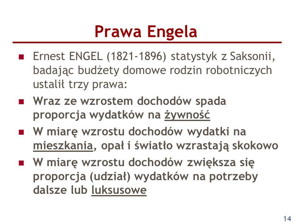 Prawa EngelaErnest ENGEL (1821-1896) statystyk z Saksonii, badając budżety domowe rodzin robotniczych ustalił trzy prawa: