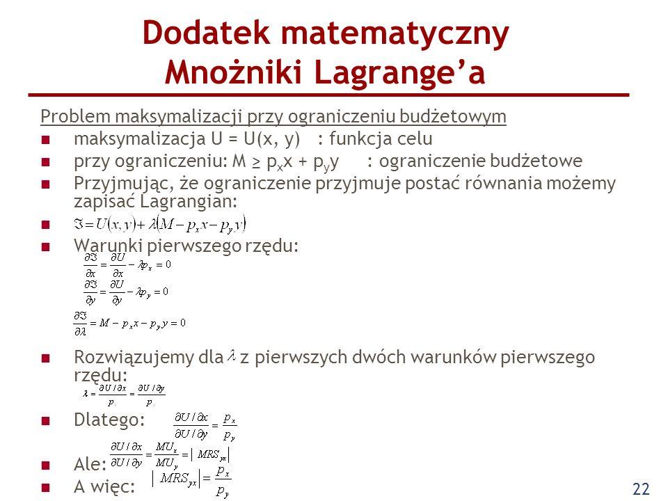 Dodatek matematyczny Mnożniki Lagrange'a