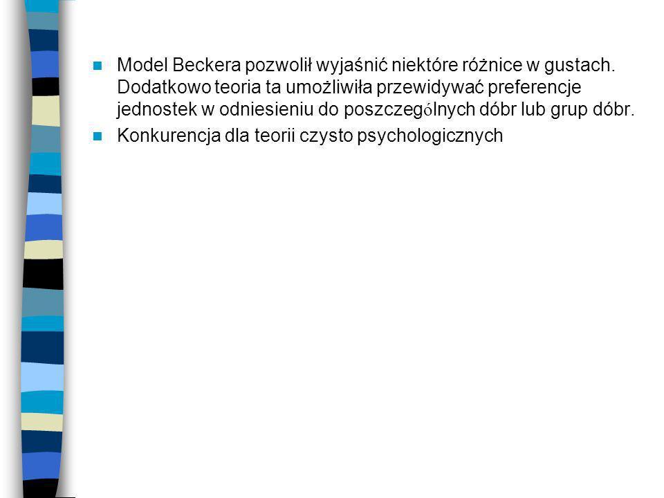 Model Beckera pozwolił wyjaśnić niektóre różnice w gustach