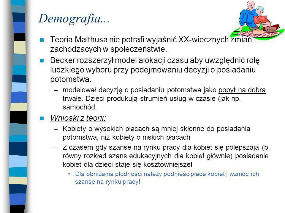 Demografia... Teoria Malthusa nie potrafi wyjaśnić XX-wiecznych zmian zachodzących w społeczeństwie.