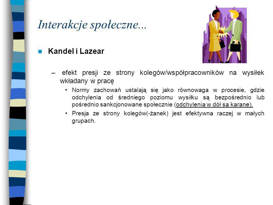 Interakcje społeczne... Kandel i Lazear