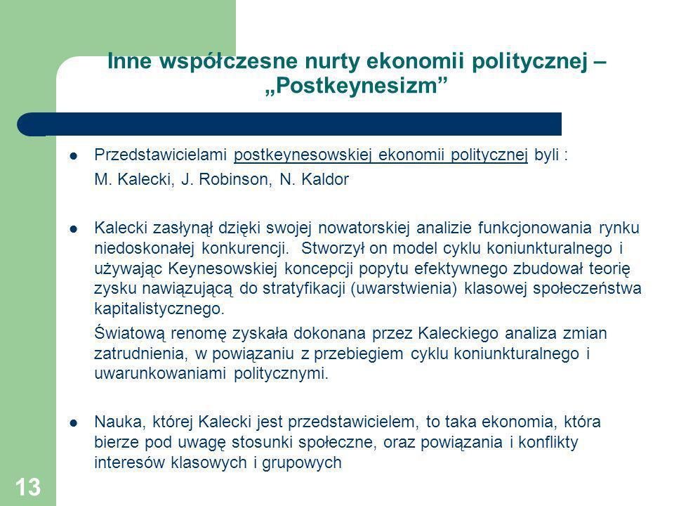 """Inne współczesne nurty ekonomii politycznej – """"Postkeynesizm"""