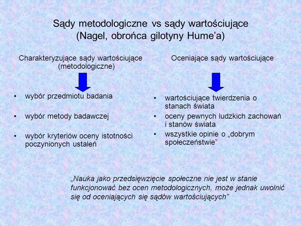 Sądy metodologiczne vs sądy wartościujące (Nagel, obrońca gilotyny Hume'a)