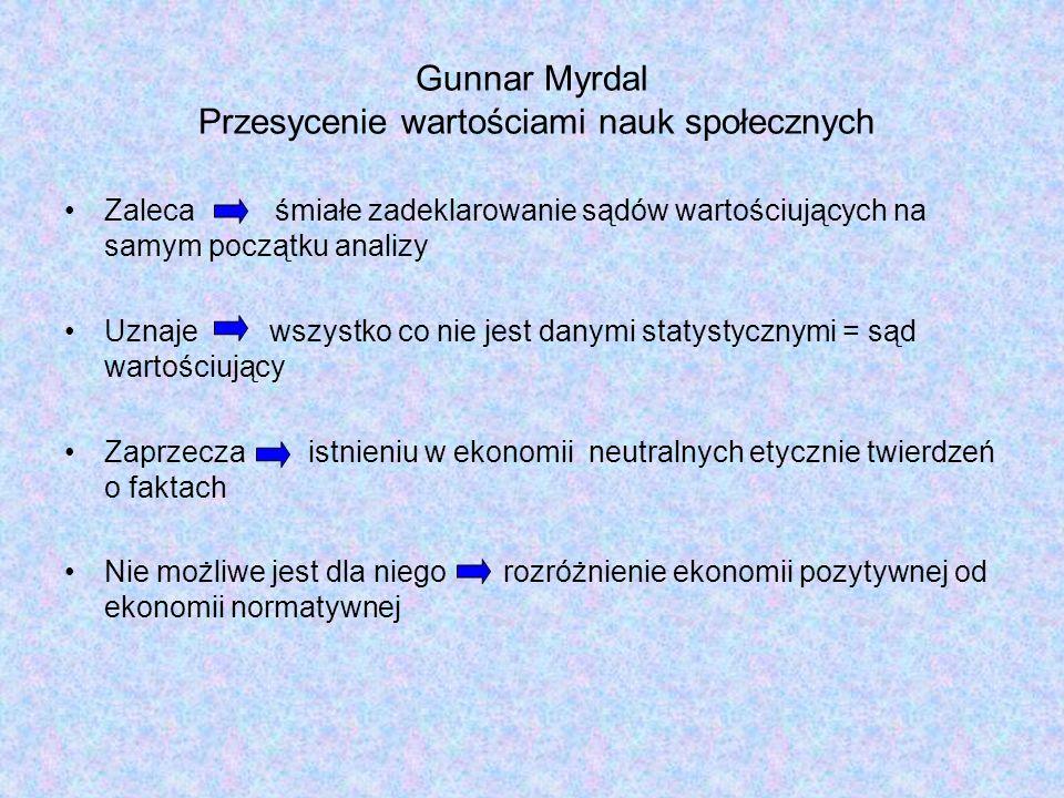 Gunnar Myrdal Przesycenie wartościami nauk społecznych