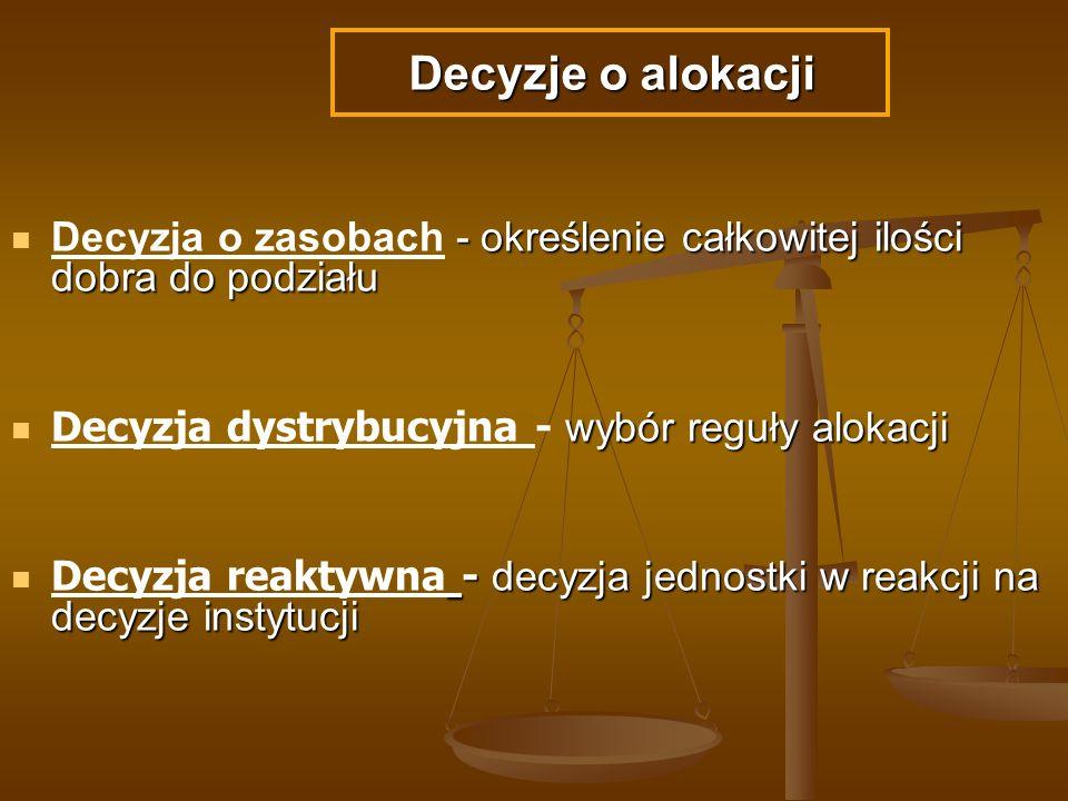 Decyzje o alokacji Decyzja o zasobach - określenie całkowitej ilości dobra do podziału. Decyzja dystrybucyjna - wybór reguły alokacji.
