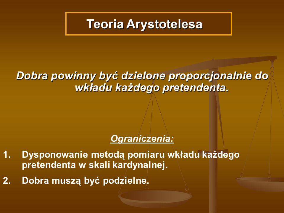 Teoria Arystotelesa Dobra powinny być dzielone proporcjonalnie do wkładu każdego pretendenta. Ograniczenia: