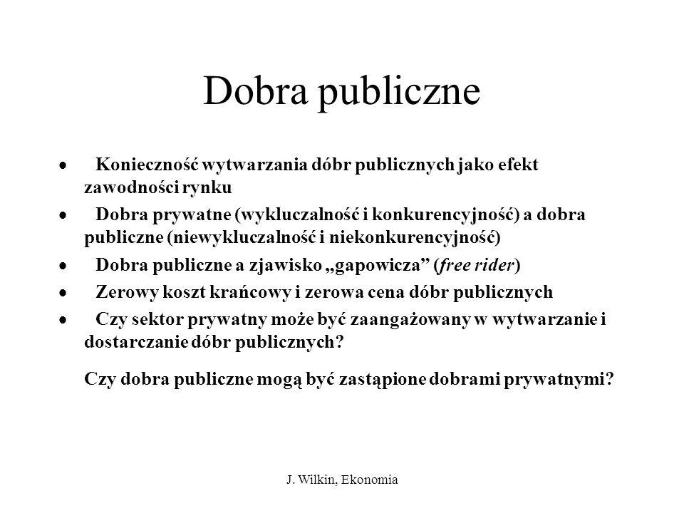 Dobra publiczne · Konieczność wytwarzania dóbr publicznych jako efekt zawodności rynku.