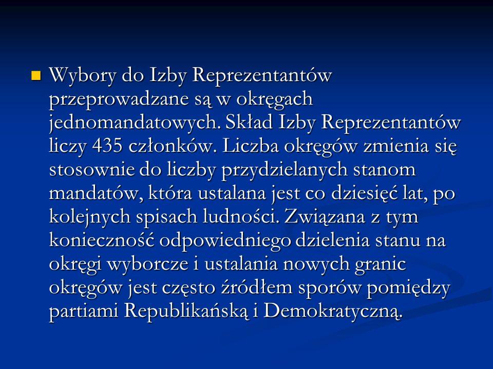 Wybory do Izby Reprezentantów przeprowadzane są w okręgach jednomandatowych.