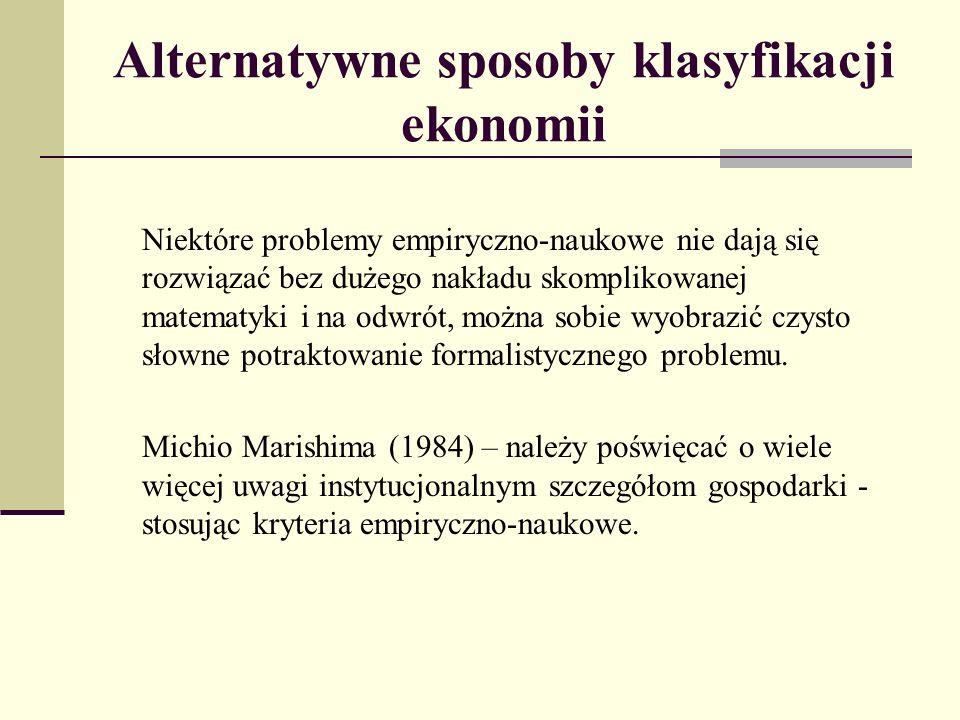 Alternatywne sposoby klasyfikacji ekonomii