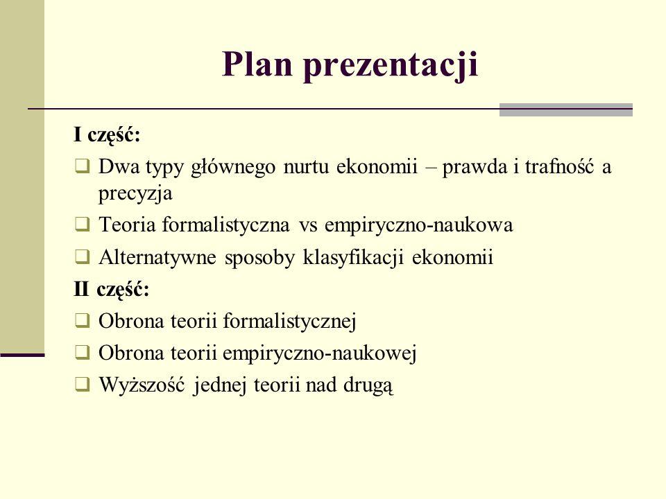 Plan prezentacji I część: