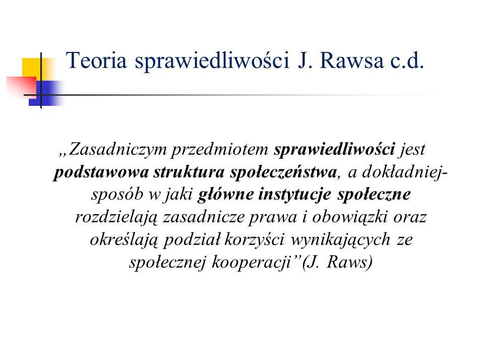 Teoria sprawiedliwości J. Rawsa c.d.