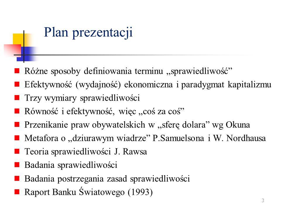 """Plan prezentacji Różne sposoby definiowania terminu """"sprawiedliwość"""