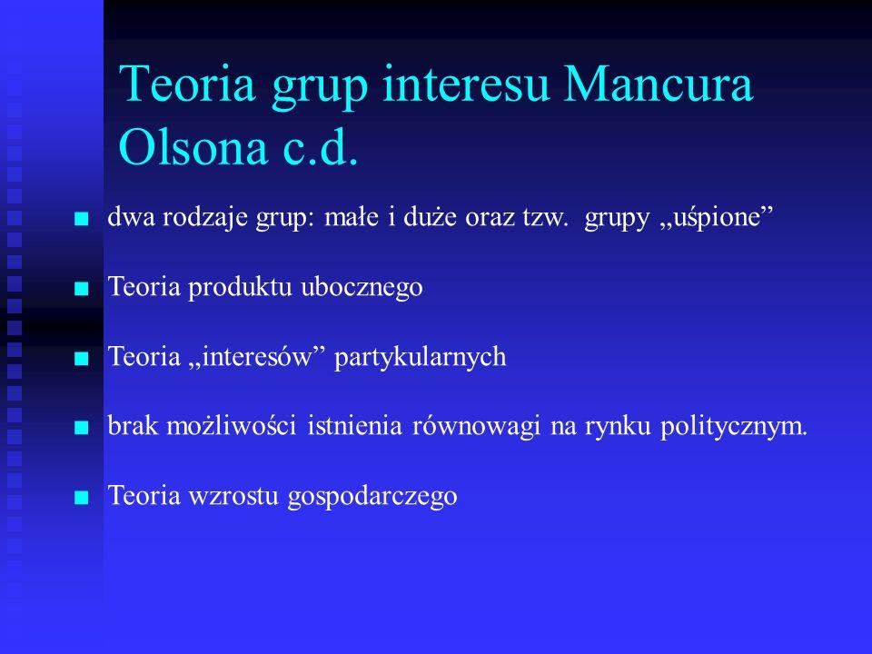 Teoria grup interesu Mancura Olsona c.d.