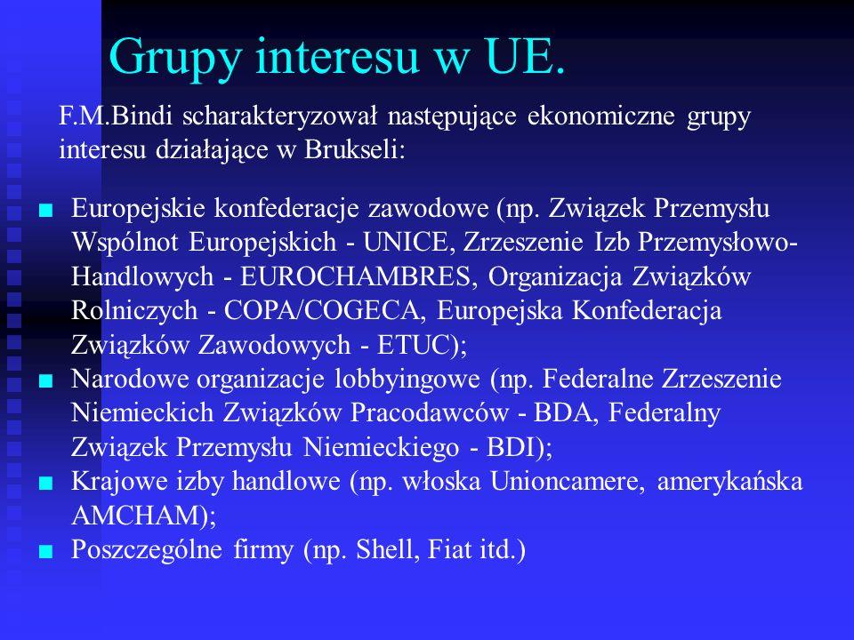 Grupy interesu w UE. F.M.Bindi scharakteryzował następujące ekonomiczne grupy interesu działające w Brukseli:
