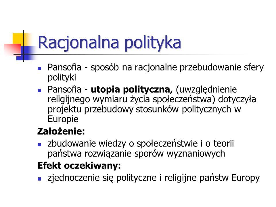 Racjonalna polityka Pansofia - sposób na racjonalne przebudowanie sfery polityki.