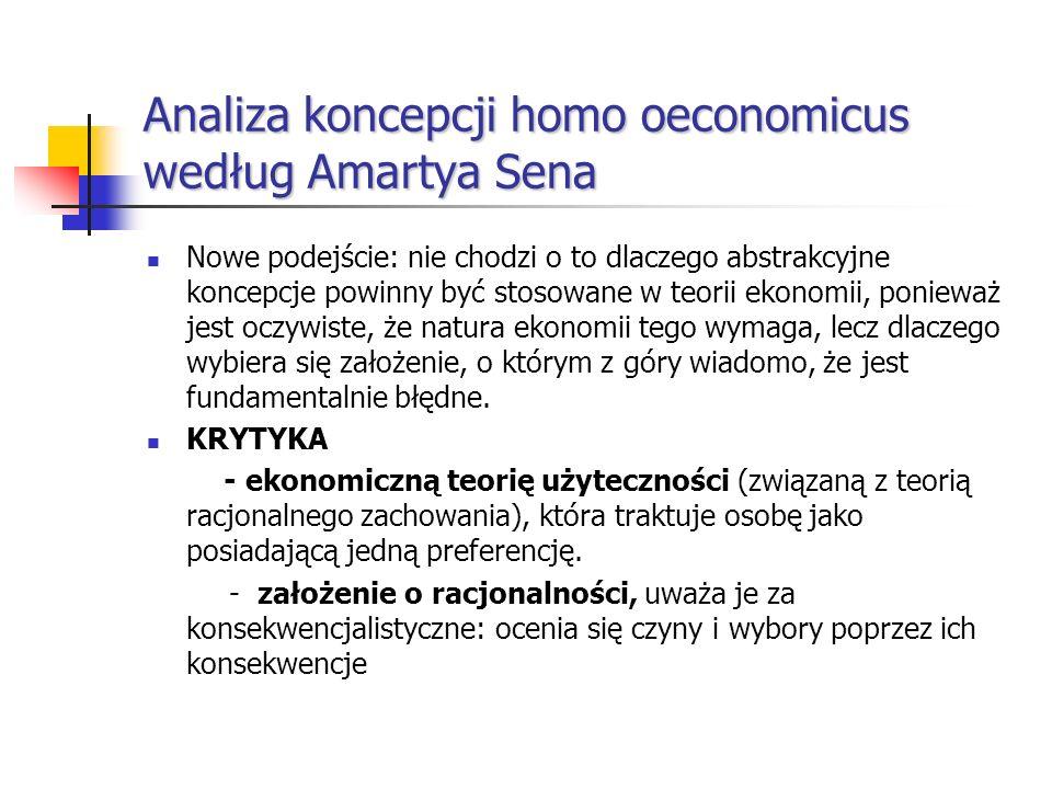 Analiza koncepcji homo oeconomicus według Amartya Sena