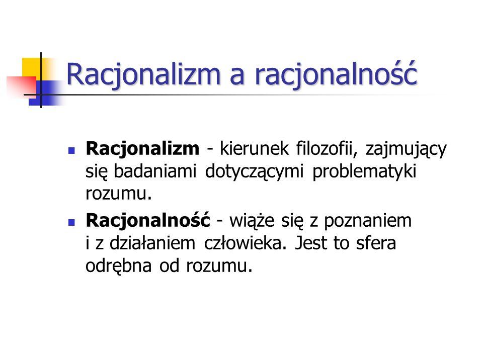 Racjonalizm a racjonalność
