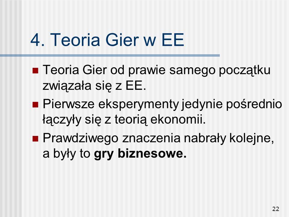 4. Teoria Gier w EE Teoria Gier od prawie samego początku związała się z EE. Pierwsze eksperymenty jedynie pośrednio łączyły się z teorią ekonomii.