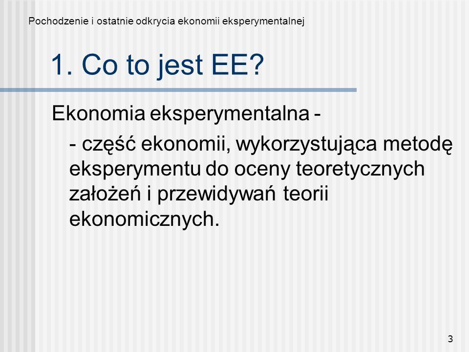 1. Co to jest EE Ekonomia eksperymentalna -
