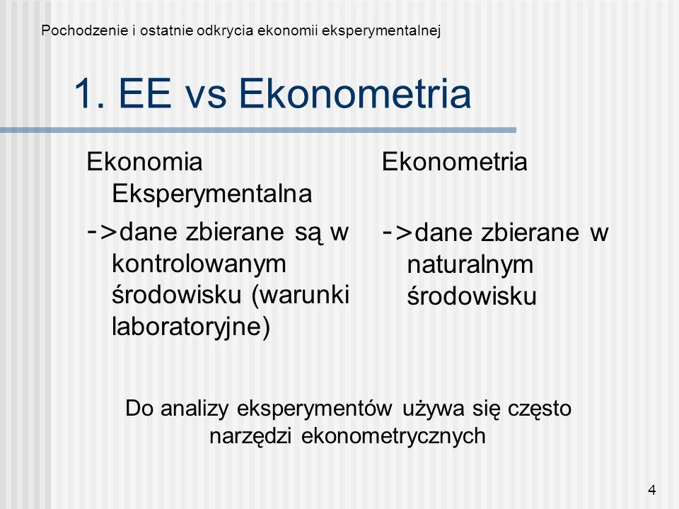 Do analizy eksperymentów używa się często narzędzi ekonometrycznych