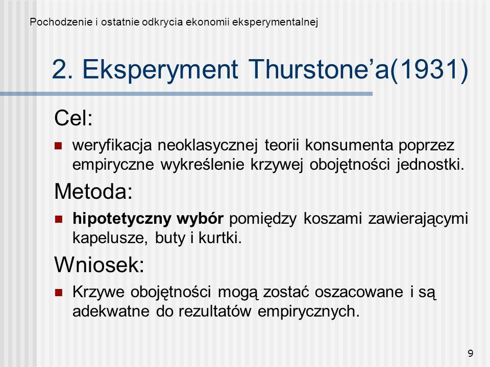 2. Eksperyment Thurstone'a(1931)