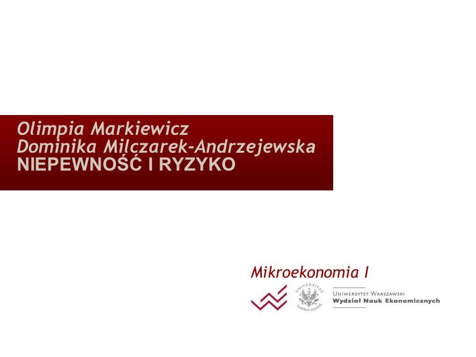Olimpia Markiewicz Dominika Milczarek-Andrzejewska NIEPEWNOŚĆ I RYZYKO