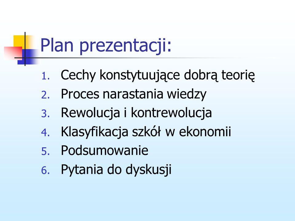 Plan prezentacji: Cechy konstytuujące dobrą teorię