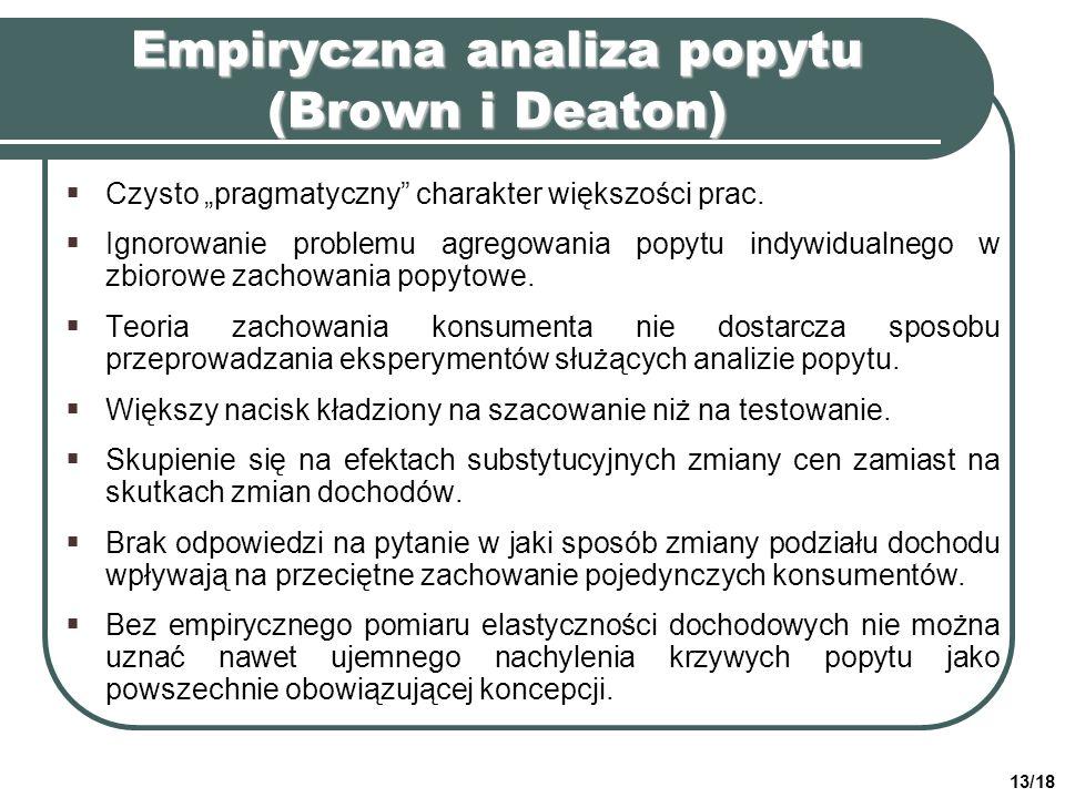 Empiryczna analiza popytu (Brown i Deaton)