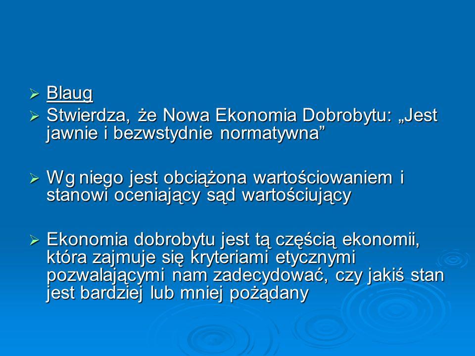 """Blaug Stwierdza, że Nowa Ekonomia Dobrobytu: """"Jest jawnie i bezwstydnie normatywna"""