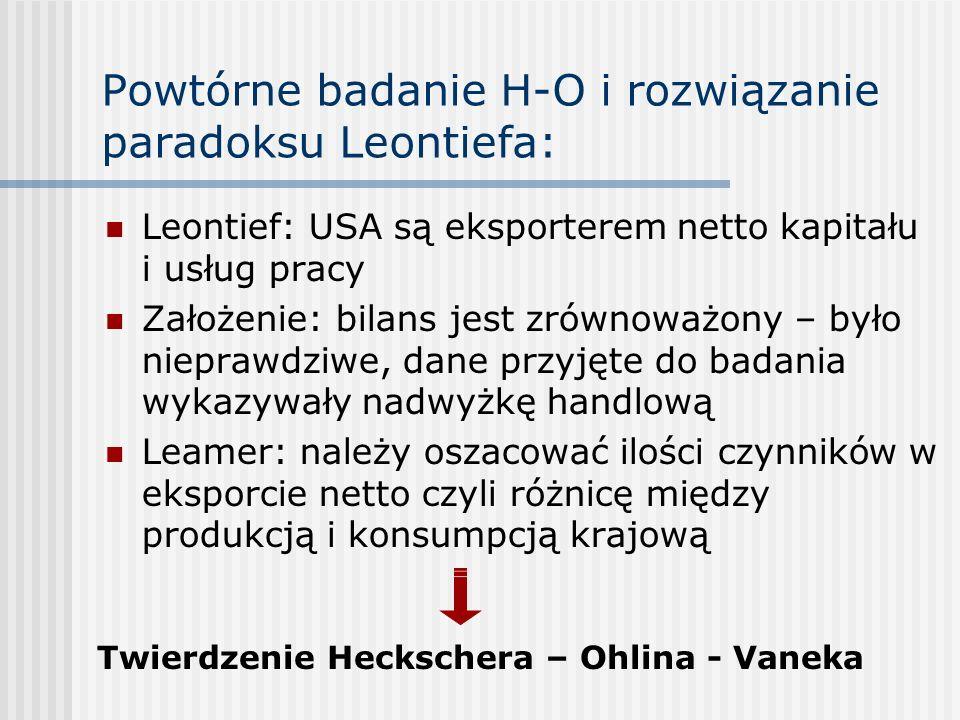 Powtórne badanie H-O i rozwiązanie paradoksu Leontiefa: