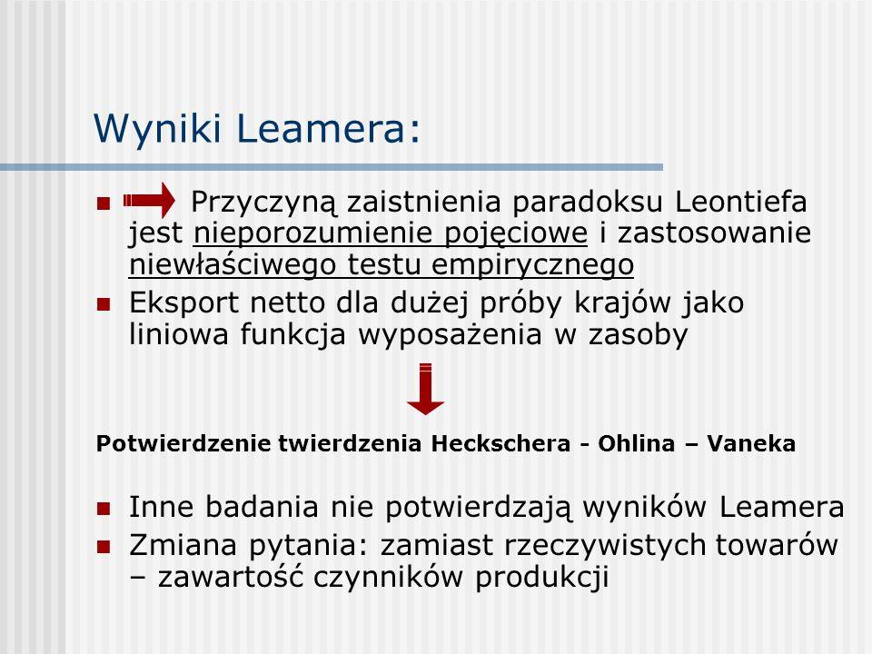 Wyniki Leamera:Przyczyną zaistnienia paradoksu Leontiefa jest nieporozumienie pojęciowe i zastosowanie niewłaściwego testu empirycznego.