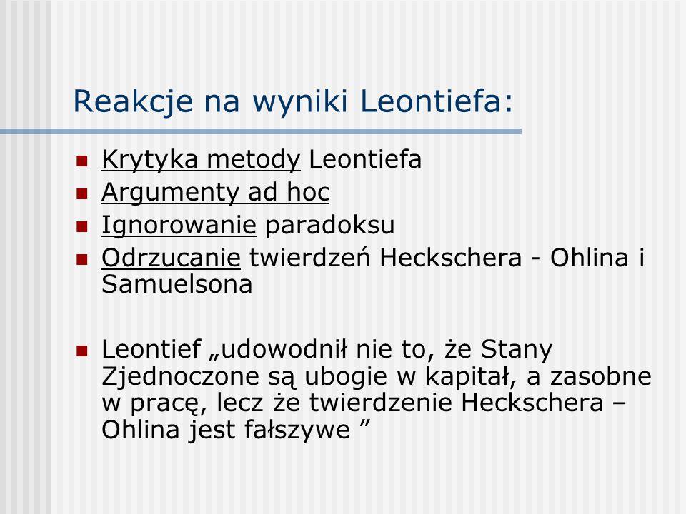 Reakcje na wyniki Leontiefa: