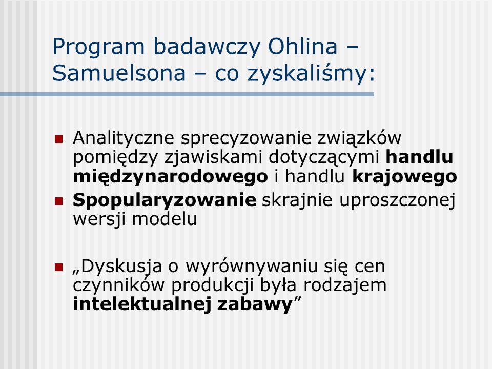 Program badawczy Ohlina – Samuelsona – co zyskaliśmy: