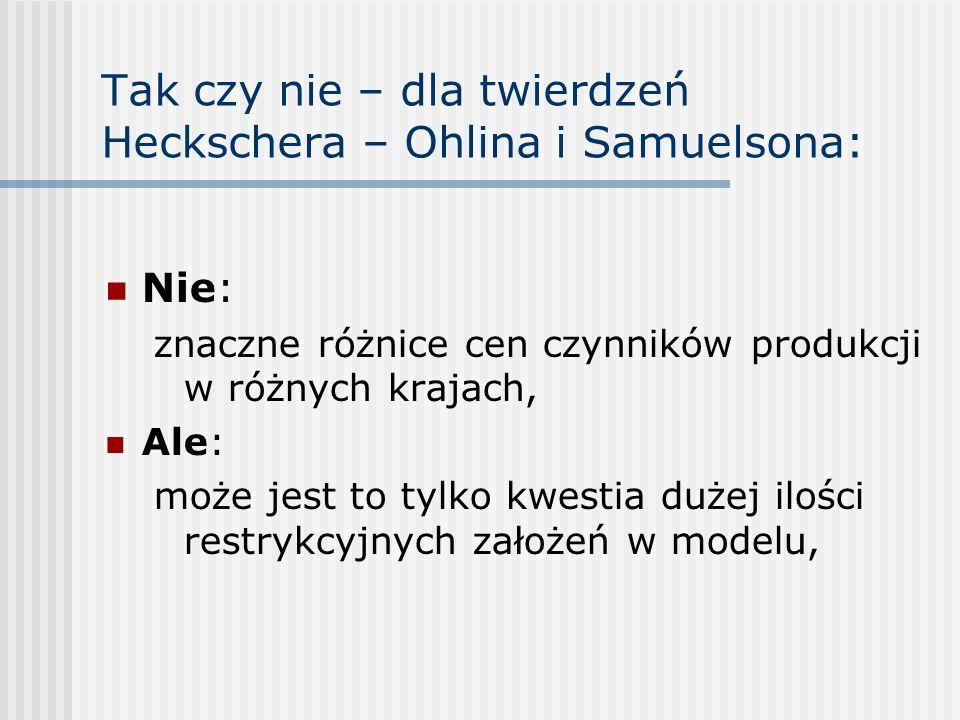 Tak czy nie – dla twierdzeń Heckschera – Ohlina i Samuelsona:
