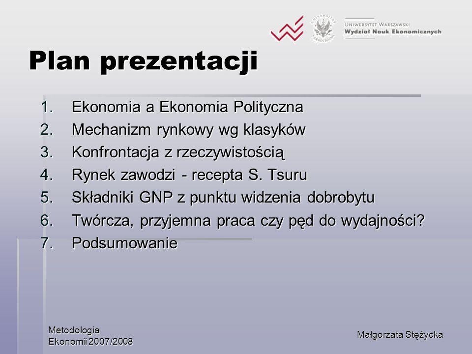 Plan prezentacji Ekonomia a Ekonomia Polityczna