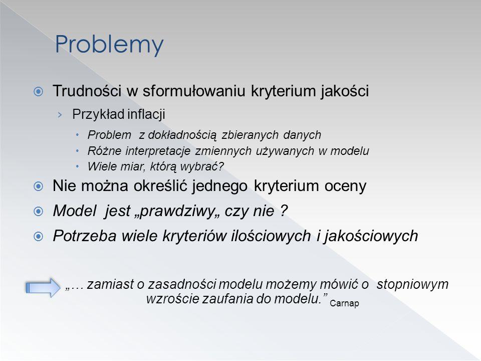 Problemy Trudności w sformułowaniu kryterium jakości