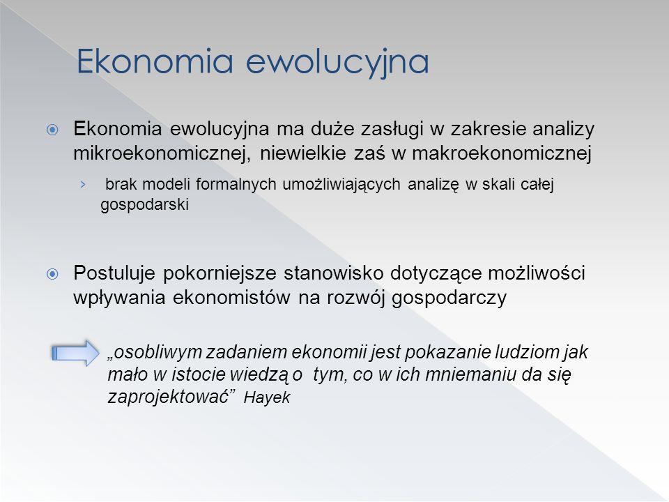 Ekonomia ewolucyjna Ekonomia ewolucyjna ma duże zasługi w zakresie analizy mikroekonomicznej, niewielkie zaś w makroekonomicznej.