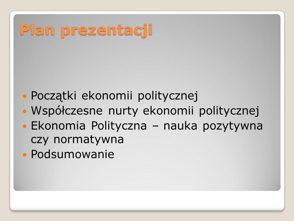 Plan prezentacji Początki ekonomii politycznej