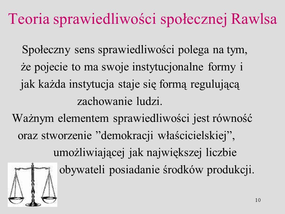 Teoria sprawiedliwości społecznej Rawlsa