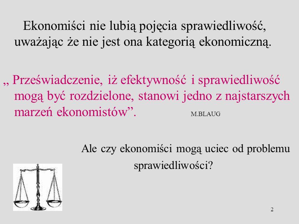 Ekonomiści nie lubią pojęcia sprawiedliwość, uważając że nie jest ona kategorią ekonomiczną.