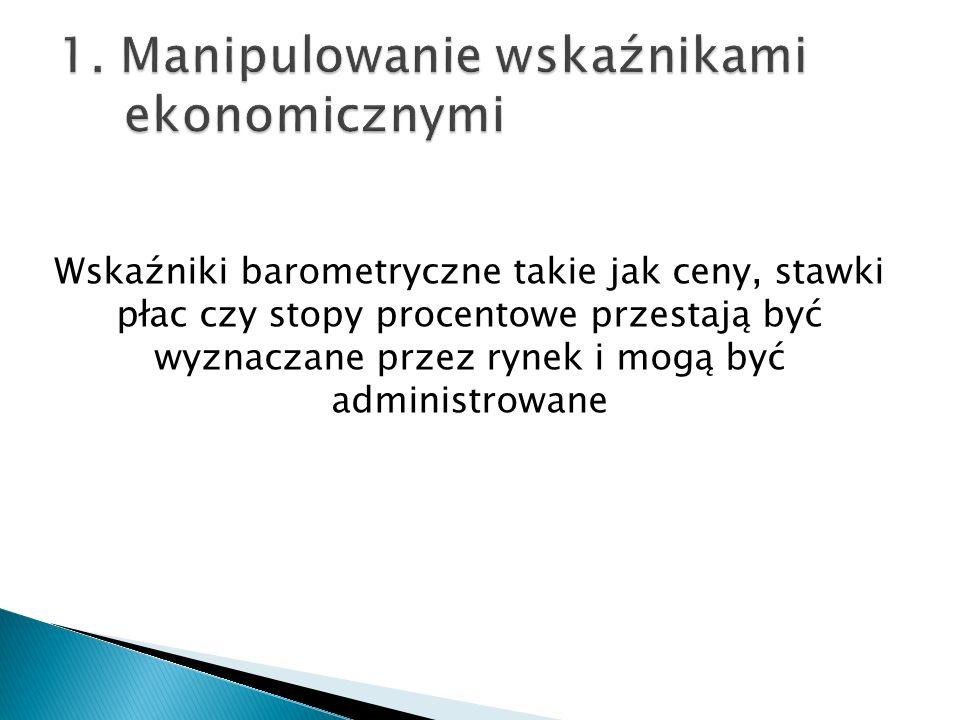 1. Manipulowanie wskaźnikami ekonomicznymi